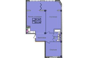 ЖК Comfort City Рибінський: планування 2-кімнатної квартири 121.3 м²