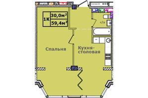 ЖК Comfort City Рыбинский: планировка 1-комнатной квартиры 59.4 м²