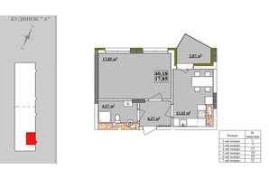 ЖК Comfort City: планировка 1-комнатной квартиры 40.18 м²