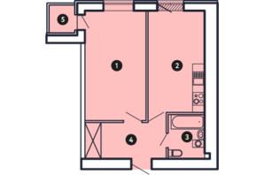 ЖК Comfort City: планування 1-кімнатної квартири 46 м²