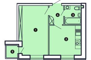 ЖК Comfort City: планировка 1-комнатной квартиры 36.81 м²