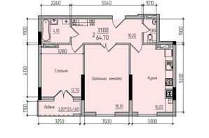 ЖК Comfort Hall: планування 2-кімнатної квартири 64 м²