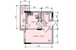 ЖК Comfort Hall: планировка 1-комнатной квартиры 35.9 м²