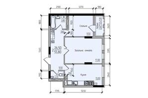 ЖК Comfort Hall: планировка 2-комнатной квартиры 55.8 м²
