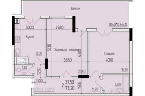 ЖК Comfort Hall: планировка 2-комнатной квартиры 73.2 м²