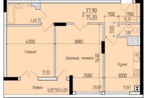 ЖК Comfort Hall: планировка 2-комнатной квартиры 75.2 м²