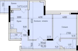 ЖК Comfort Hall: планировка 2-комнатной квартиры 70.5 м²