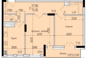 ЖК Comfort Hall: планировка 2-комнатной квартиры 73.3 м²