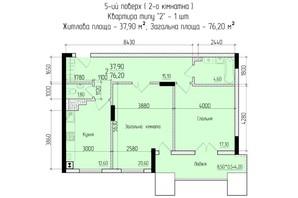 ЖК Comfort Hall: планировка 2-комнатной квартиры 76.2 м²