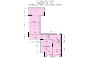 ЖК Comfort Hall: планировка 2-комнатной квартиры 90.7 м²