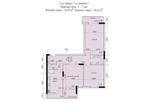 ЖК Comfort Hall: планировка 3-комнатной квартиры 96.4 м²