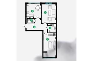 ЖК Comfort Park: планування 2-кімнатної квартири 65 м²