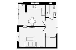 ЖК Comfort Park: планування 1-кімнатної квартири 45 м²