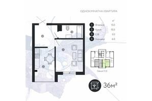ЖК Comfort Park: планировка 1-комнатной квартиры 36 м²