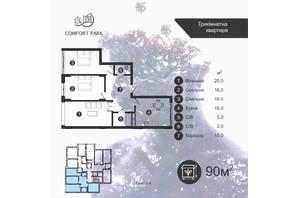 ЖК Comfort Park: планировка 3-комнатной квартиры 90 м²