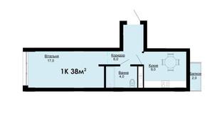 ЖК Comfort Park: планировка 1-комнатной квартиры 38 м²