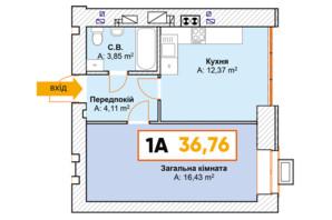 ЖК Continent: планування 1-кімнатної квартири 36.76 м²