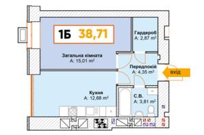 ЖК Continent: планування 1-кімнатної квартири 38.71 м²