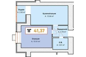 ЖК Continent: планування 1-кімнатної квартири 41.37 м²