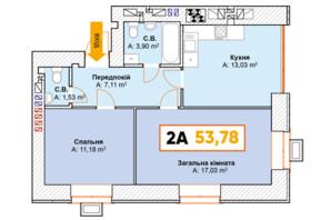 ЖК Continent: планування 2-кімнатної квартири 53.78 м²