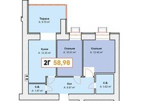 ЖК Continent: планування 2-кімнатної квартири 58.98 м²