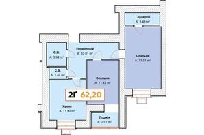 ЖК Continent: планування 2-кімнатної квартири 62.2 м²