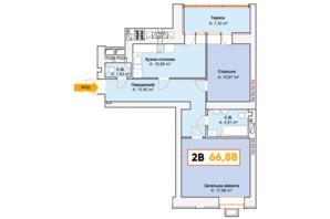ЖК Continent: планування 2-кімнатної квартири 66.88 м²