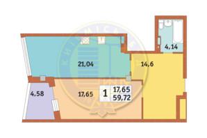 ЖК Costa fontana: планування 1-кімнатної квартири 59.72 м²