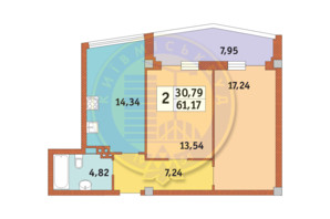 ЖК Costa fontana: планування 2-кімнатної квартири 61.17 м²
