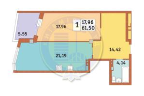 ЖК Costa fontana: планування 1-кімнатної квартири 61.5 м²