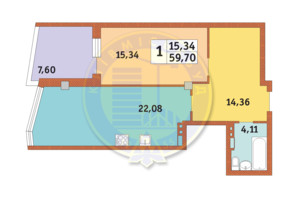 ЖК Costa fontana: планування 1-кімнатної квартири 59.7 м²