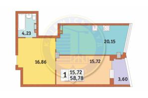 ЖК Costa fontana: планування 1-кімнатної квартири 58.78 м²