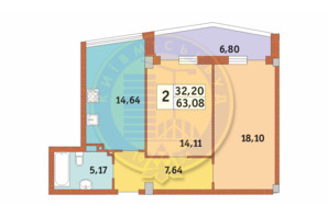 ЖК Costa fontana: планування 2-кімнатної квартири 63.08 м²