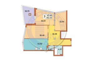 ЖК Costa fontana: планування 3-кімнатної квартири 92.53 м²
