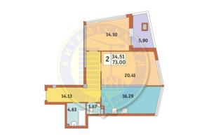 ЖК Costa fontana: планування 2-кімнатної квартири 73 м²