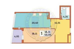 ЖК Costa fontana: планировка 1-комнатной квартиры 59.95 м²