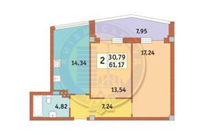 ЖК Costa fontana: планировка 2-комнатной квартиры 61.17 м²