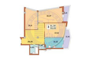 ЖК Costa fontana: планировка 3-комнатной квартиры 93.03 м²