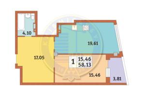 ЖК Costa fontana: планировка 1-комнатной квартиры 58.13 м²