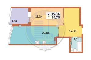 ЖК Costa fontana: планировка 1-комнатной квартиры 59.7 м²