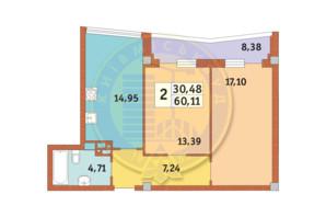 ЖК Costa fontana: планировка 2-комнатной квартиры 60.11 м²