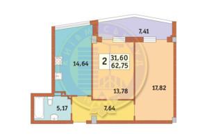 ЖК Costa fontana: планировка 2-комнатной квартиры 62.75 м²
