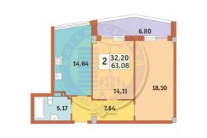 ЖК Costa fontana: планировка 2-комнатной квартиры 63.08 м²