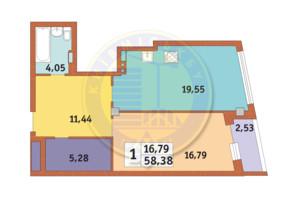 ЖК Costa fontana: планировка 1-комнатной квартиры 58.38 м²