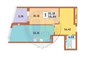 ЖК Costa fontana: планировка 1-комнатной квартиры 58.83 м²