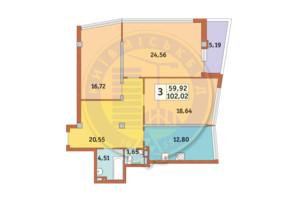 ЖК Costa fontana: планировка 3-комнатной квартиры 102.02 м²