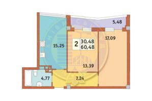 ЖК Costa fontana: планировка 2-комнатной квартиры 60.48 м²