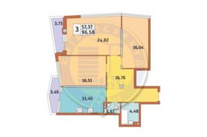 ЖК Costa fontana: планировка 3-комнатной квартиры 96.58 м²
