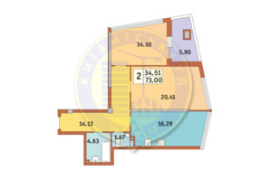 ЖК Costa fontana: планировка 2-комнатной квартиры 73 м²