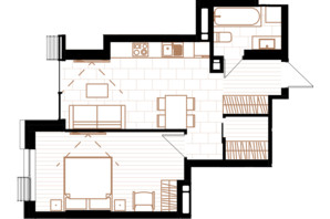 ЖК Creator City: планировка 1-комнатной квартиры 46.8 м²